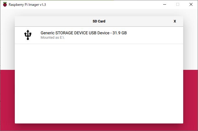 Raspberry Pi Imager の SDカード選択画面