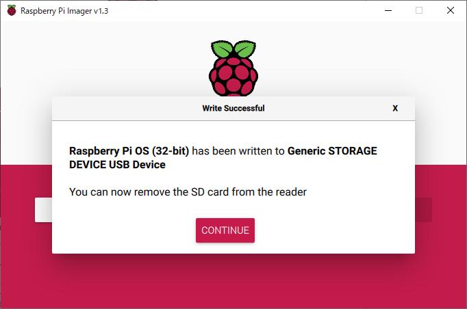 Raspberry Pi Imager の インストール成功/完了後、SDカード取り外し可能表示