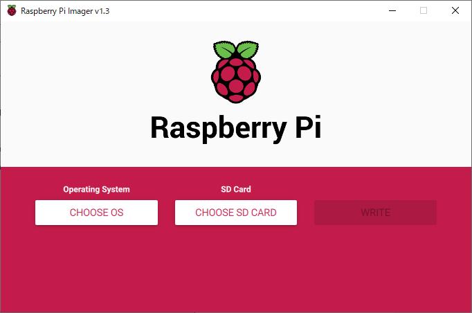 Raspberry Pi Imager の 起動画面