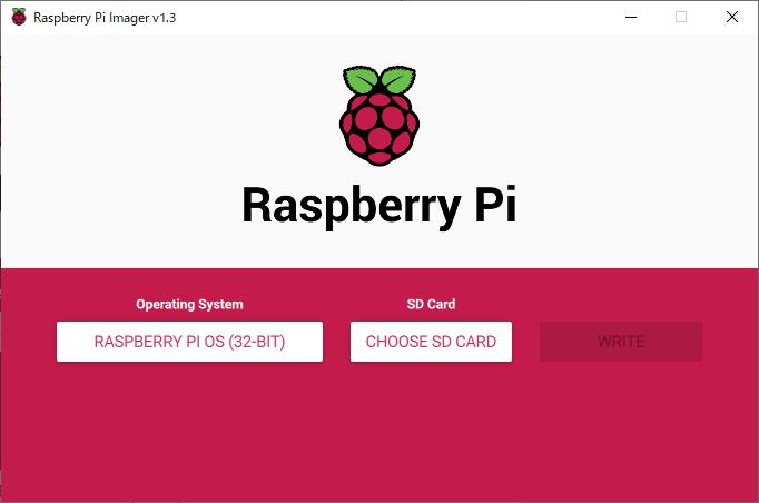 Raspberry Pi Imager の 画面(OS選択後)