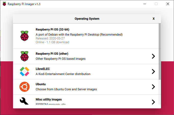 Raspberry Pi Imager の OS選択画面